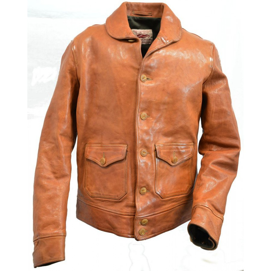 Thedi-Leathers-Buffalo-Jacket-Shawl-Neck-Tan